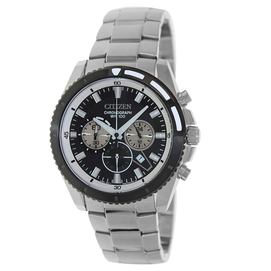 dac31be80 Citizen Men's Quartz Black Dial Silver Stainless Steel Quartz Watch  AN8011-52E
