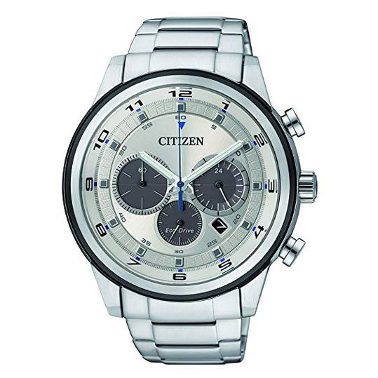 Citizen Watch Men S Chronograph Solar Powered Watch With Silver Dial Analogue Display And Silver Stainless Steel Bracelet Ca4034 50a